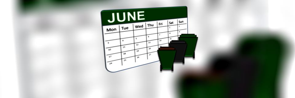 A June calendar with any three bins in foreground.