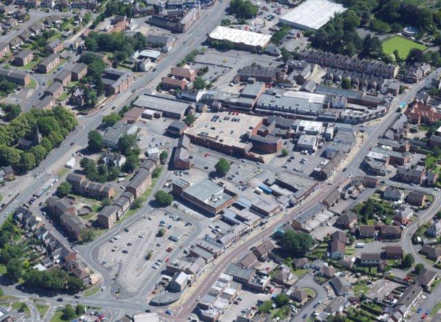 Wigston town centre aerial photograph