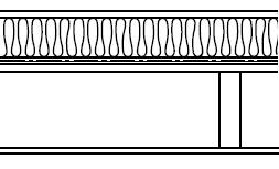 Typical section of a flat roof warm deck construction
